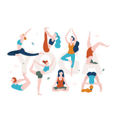 Yoga for women with any shape slim and overweight vector
