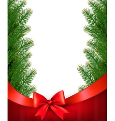 Christmas background with branches of tree and bow vector image