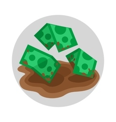 Dirty money flat icon vector image vector image