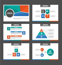 Green Orange blue presentation templates set vector image vector image