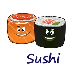 Japanese seafood and sushi vector image vector image