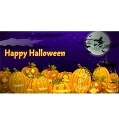 Pumpkin carved in dark night vector image