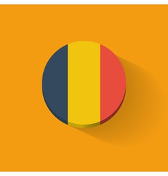 Round icon with flag of Romania vector image