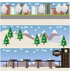set of places for winter sports and vector image