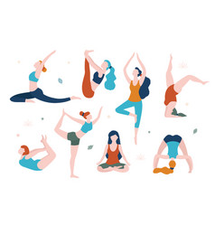 women doing yoga in different poses flat vector image