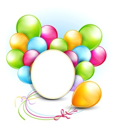 congratulation background with balloons and a roun vector image vector image