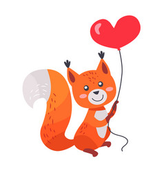 fox with red heart shaped balloon in paws isolated vector image