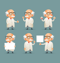 old scientist character icons set retro cartoon vector image vector image