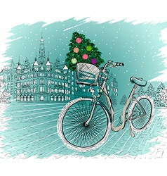Winter Christmas Background Sketch vector image