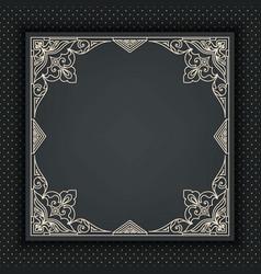 Floral and geometric monogram frame on dark gray vector