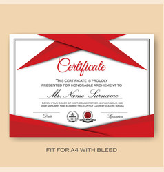 modern verified certificate background template vector image vector image