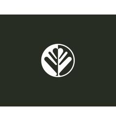 Negative space leaf shape Circle tree logo design vector image vector image