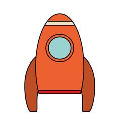 orange rocket space travel vector image