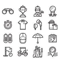 play golf outline icons vector image vector image
