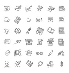 simple set of copywriting related line vector image vector image