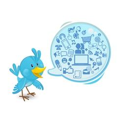 social networking media bluebird vector image