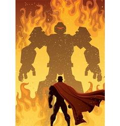 Superhero Versus Robot vector image vector image