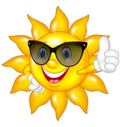 Cartoon sun giving thumbs up isolated on white bac vector image vector image