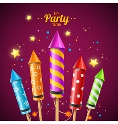 Party Rocket Fireworks Flyer Card vector image