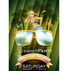 Summer beach party flyer design with sexy girl vector