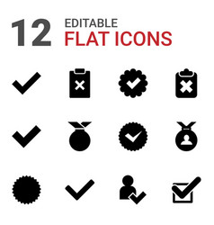12 approved icons vector