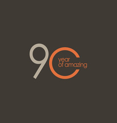 90 year amazing template design vector