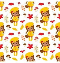 African American Little Girl Seamless Pattern vector