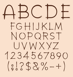 alphabet letters numbers signs drawn with paint vector image