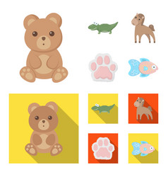 an unrealistic cartoonflat animal icons in set vector image