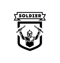 Ancient soldier logo with double broken swords vector