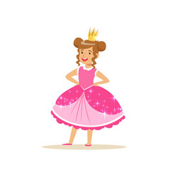 Beautifull little girl princess in a dark pink vector