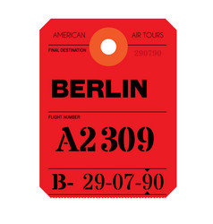 Berlin airport luggage tag vector