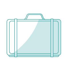 Blue silhouette shading cartoon travel briefcase vector