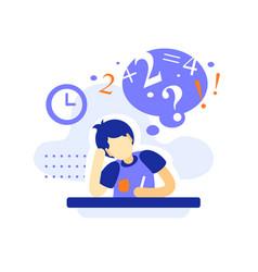 Bored male student at desk doing homework vector