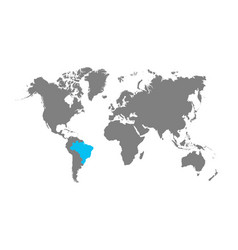 Brazil map is highlighted in blue on the world map vector