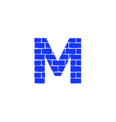 brick logo letter m vector image