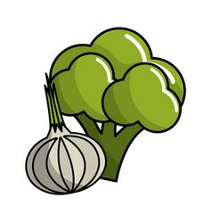 Broccoli and garlic vegetable icon vector