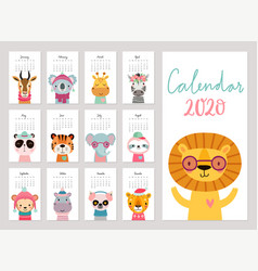 Calendar 2020 cute monthly calendar with woodland vector