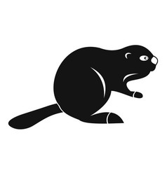 Canadian beaver icon simple style vector