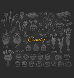 Candy set hand drawn doodle vector