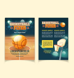 cartoon flyers to invite on basketball game vector image