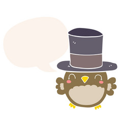 Cartoon owl wearing top hat and speech bubble in vector