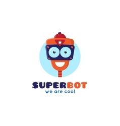 Cartoon robot head logo vector