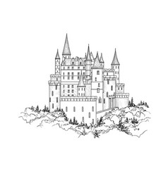 Castle landmark medieval palace building with vector