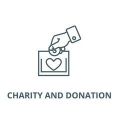 charity and donation line icon charity vector image