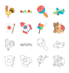 Children toy cartoonoutline icons in set vector