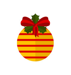 christmas ball decoration with holly leaves icon vector image