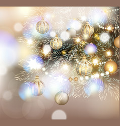 christmas with christmas tree in lights baubles vector image