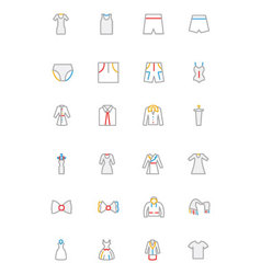 Clothes Colored Outline Icons 3 vector