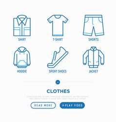 clothing thin line icons set folded shirt vector image